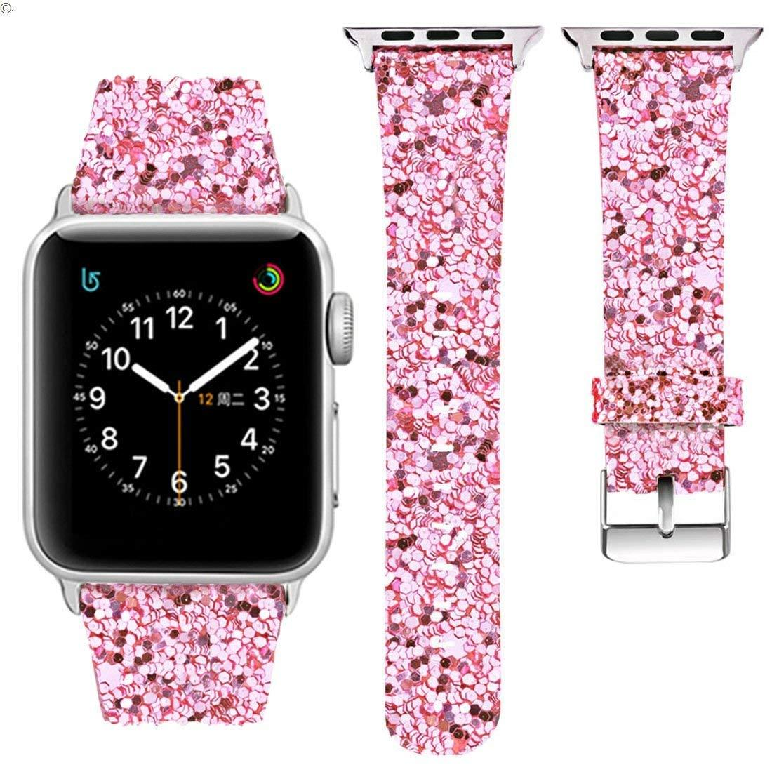 2018-Extreme Deluxe Shiny Bling Glitter Leather Wristband Apple watch band