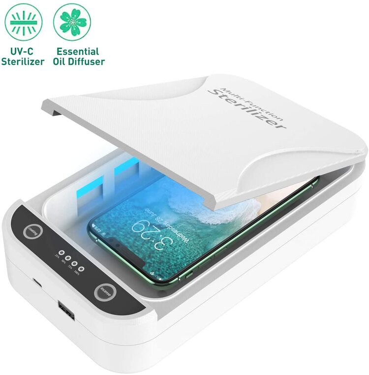 Onepech® UV Cell Phone Sanitizer, Portable UV Phone Soap Sterilizer, Cell Phone Cleaners Sanitizer Box for iOS Android Smartphones Or More