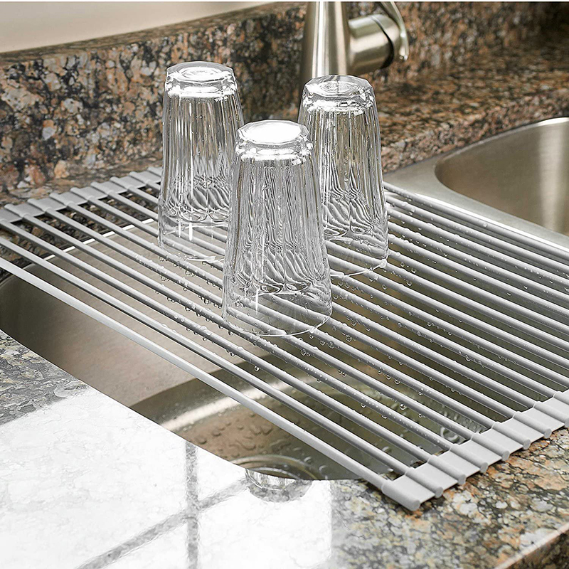 Multipurpose Roll-Up Kitchen Dish Drying Rack Foldable