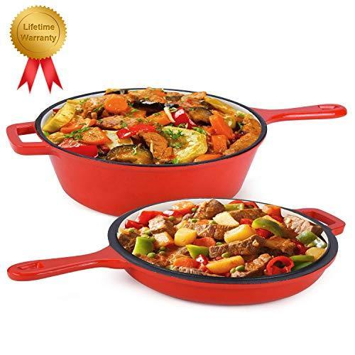Enameled 2-In-1 Cast Iron Multi-Cooker – Heavy Duty 3.2 Quart Skillet and Lid Se