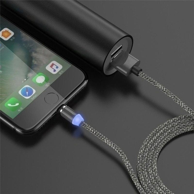 2020 New 2.4A Quick Magnetic USB-C Type C/IOS/Micro USB 360 Round Fast Charger Cable