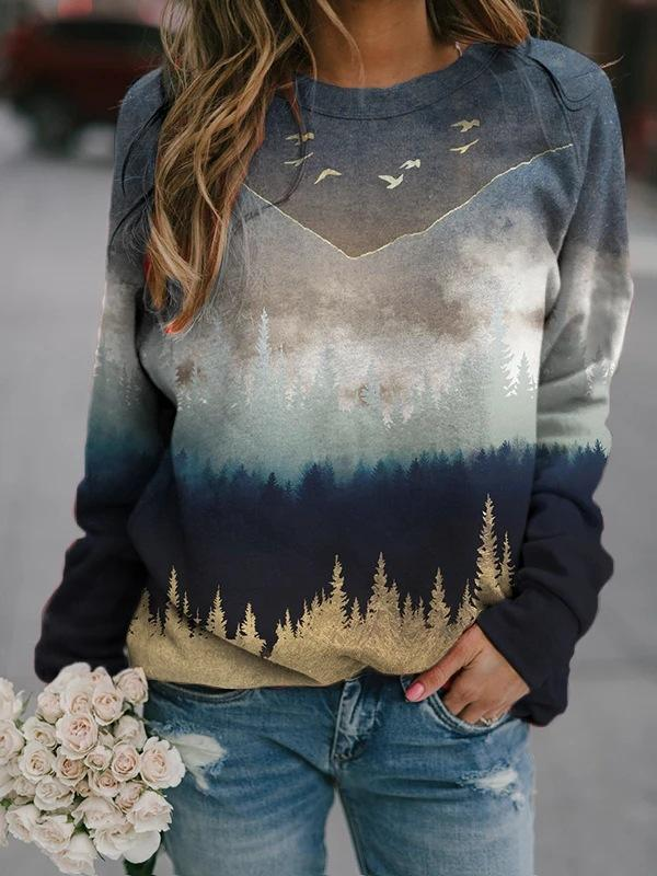 Landscape Printed Long-Sleeved Sweater